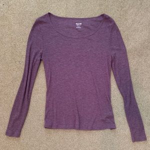 Mossimo Supply Co. Long Sleeve Purple Ribbed Top